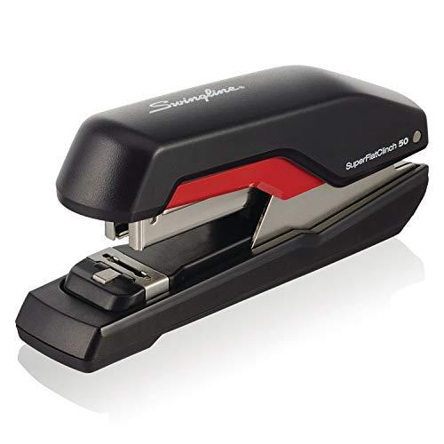 Desktop Half Strip - Swingline Stapler, SuperFlatClinch 50, Half Strip Desktop Stapler, 50 Sheet Capacity, Black/Red (5000599A)