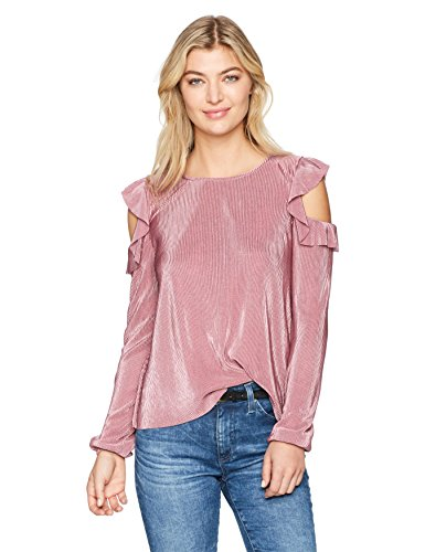Freshman 1996 Women's Long Sleeve Cold Shoulder with Ruffle, Dusky Orchid, (Dusky Orchid)