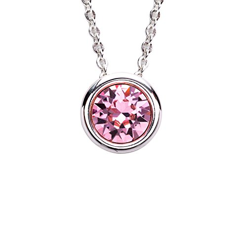 Set Plated Bezel - Collection Bijoux Fine Silver Plated Bezel Set Birthstone Pendant Necklace, Made with Swarovski Crystals, 16