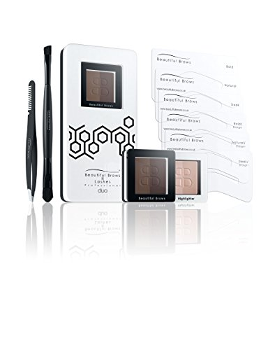 Beautiful Brows Duo 13 Piece Eyebrow Stencil Kit 6 Brow Stencils,1 Duo Brow Powder Dark Chocolate Brown ,1 Duo Applicator and Volumizing Brush,1 Duo Highlighter Shimmer Matte with Brush, Precision Tip Tweezers with Brow Brush,Compact Magnifying Mirror
