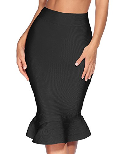 Meilun Women's Rayon Bandage Bodycon Casual Fitted Pencil Skirt (Small, Black ham)