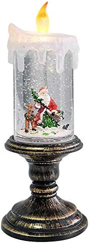 Eldnacele Battery Operated Lighted Flameless Candles Christmas Snow Globe Candle Light Swirling Water Glittering Spinning Candles for Home Decoration