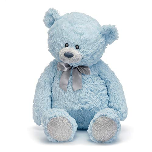 DEMDACO Large Blue Austen Bear with Satin Bow Tie Children's Plush Stuffed Animal Toy ()