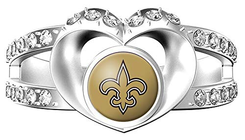 (MT-Sports Heart Shaped Lady Ring Lady Exquisite Heart Shaped Ring (New Orleans Saints, 8))