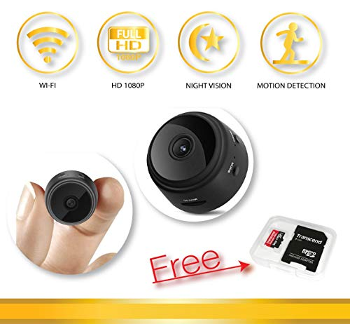 Mini Spy Camera WiFi Hidden Camera AOBO,with 64Gb microSD Card,Night Vision 1080 Motion Detection,Wireless Full HD with Long time Recording.use Home,car, Office,Compatible with Laptop/celular