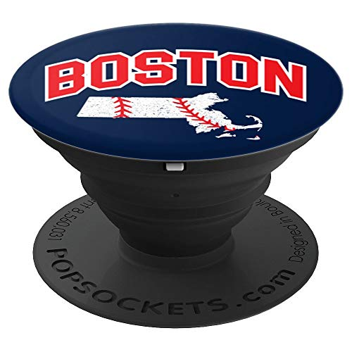 Boston Massachusetts - Baseball White Red Blue State Map - PopSockets Grip and Stand for Phones and Tablets