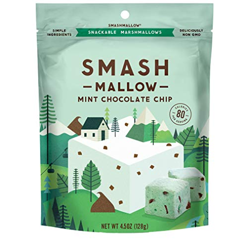 Mint Chocolate Chip by SMASHMALLOW | Snackable Marshmallows | Non-GMO | Organic Cane Sugar | 80 calories | (4.5 ounce) -