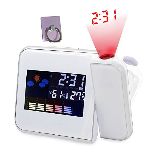 Electronic Clocks Digital Projection Alarm Clock Desk Weather LED Backlight with Temperature Humidity Calendar Display for Night Powered by Battery or USB Gift Ideas White Rotating Free Phone Stand