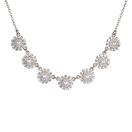Collar Necklace for Women Rhinestone with Faux Pearl Alloy Statement Necklace Fashion Jewelry