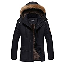 HengJia Men's Winter Military Long Section Jackets Outdoor Coat with Fur Collar