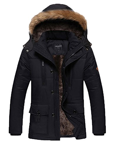 HENGJIA Men's Winter Warm Fleece Lined Coats With Detachable Hooded Windbreaker Jacket Black US X-Small(Asian L) by HENGJIA