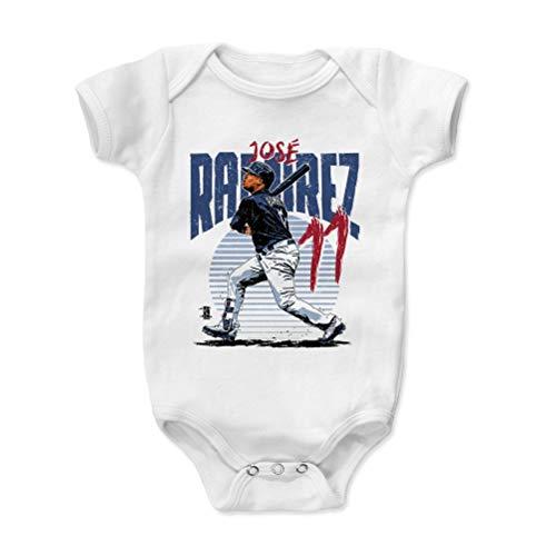 (500 LEVEL Jose Ramirez Baby Clothes, Onesie, Creeper, Bodysuit 6-12 Months White - Cleveland Baseball Baby Clothes - Jose Ramirez Rise)