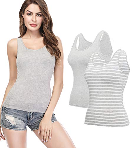 KIWI RATA Camisoles for Women with Built in Bra, Summer Sleeveless Shirt Casual, Padded Bra Women cami, Wide Straps Tank Top for Yoga 2 Pack Striped Grey/Grey L ()