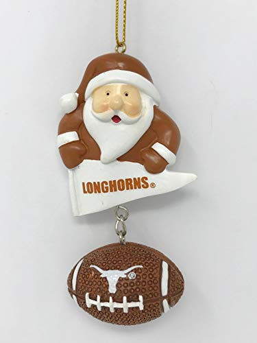 - Texas Longhorns Santa & Football Christmas Tree Ornament - Officially Licensed
