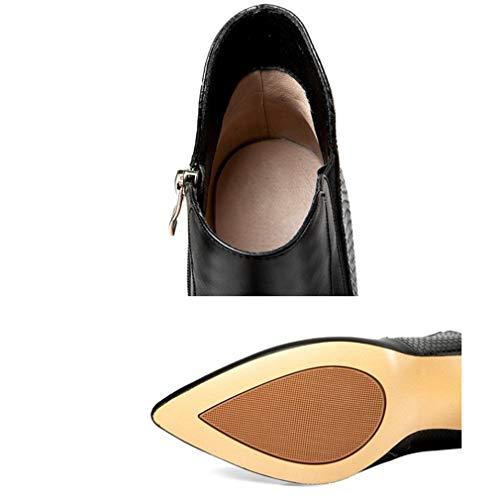 35 Talons Martin Hauts Chaussures Dames Bottes En Bottines De Cuir Automne black Yanyan Black La Hiver Pointu Femme Noir Fashion Stiletto À wR4q0Xf