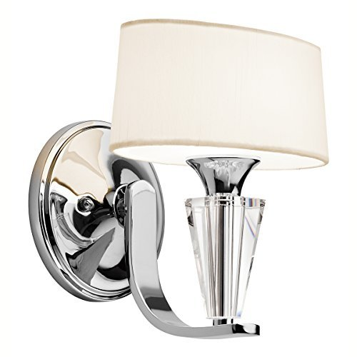 Kichler Lighting 42028CH Crystal Persuasion 1LT Wall Sconce, Chrome Finish with White Linen Fabric Shade by Kichler