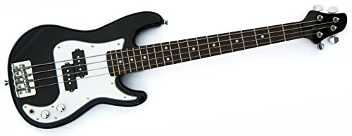 MB2 Quality small mini bass guitar for children, kids ages 5-9 & travel, black