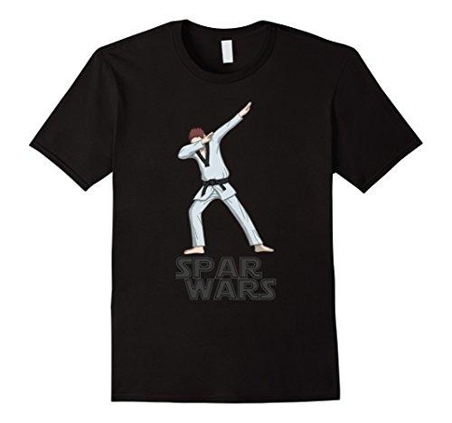 Mens Dabbing Spar Wars Taekwondo - black belt - T Shirt Small Black ()