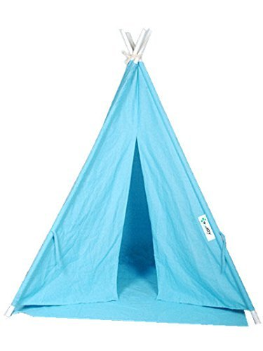 Laylala 6' Indoor Indian Playhouse Toy Teepee Play Tent for Kids Toddlers Canvas Teepee With Carry Case With Mat (BLUE)