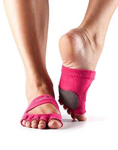 ToeSox Women's Releve Half Toe Grip for Dance, Yoga, Pilates, and Barre Toe Socks With LEATHER PAD (Fuchsia) Large