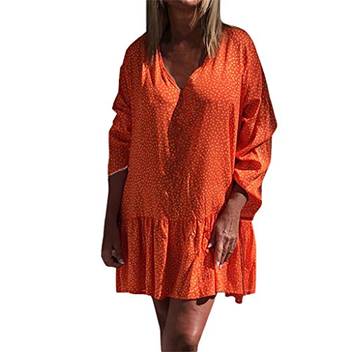 EDTO Women's Ladies Loose Polka Dot Long Sleeve V-Neck Mini Dress