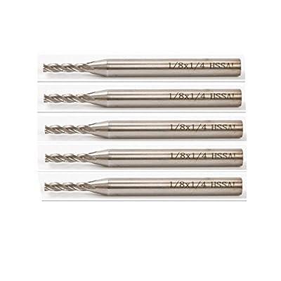 Yosoo 5pcs 1/4'' Shank HSS CNC 4 Flute End Mill Cutter Milling Machine 1/8'' Bit