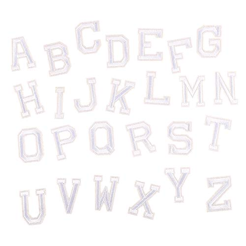 Partyfareast Number/Letter Set Patches Applique Embroidery Iron On Badge Diy (White Alphabet Letters Set), MEDIUM