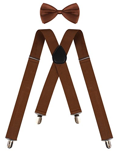 [BODY STRENTH brown suspenders wide suspenders mens brown suspenders Brown] (Viking Outfits For Adults)