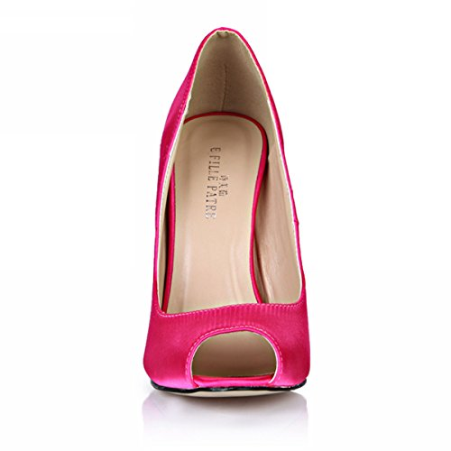 Silk Fashion SM00190 Glitter D'Orsay Women DolphineGirl High Heels Toe Pump Pink Stiletto Peep 5xqPnwfAB