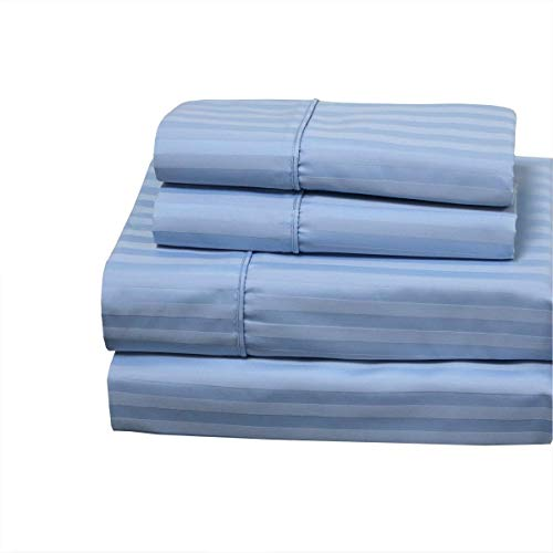 Wamsutta NightFully Bedding Damask Stripe 500-Thread-Count 100% Egyptian Cotton Cal-King Sheet Set in Light Blue with 21 Inch Drop Length