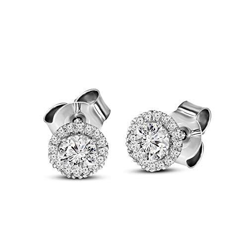 High Diamond - 100% Real Diamond Earrings Luxury Halo Cut Diamond Earrings 1-3/4 ct Lab Grown Diamond Stud Earrings Lab Created Diamond Earrings SI-GH Quality 14K Gold Real Diamond Jewlery Gifts For Women