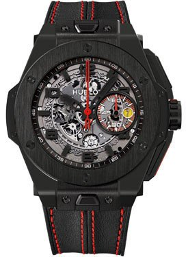 Hublot Ferrari All Black Automatic Openwork Dial Black Ceramic Mens Watch 401.CX.0123.VR