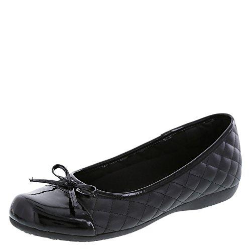 safeTstep Slip Resistant Women's Black Women's Sasha Quilt Bow Flat 9.5 Regular