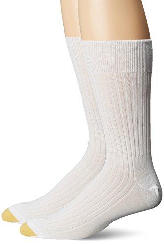 Gold Toe Men's Comfort Top Non-Elastic English Rib Crew 2 Pack S6, White, Shoe Size: 10.5-11 ()