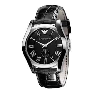Emporio Armani Men's AR0643 Classic Black Leather Black Roman Numeral Dial Watch