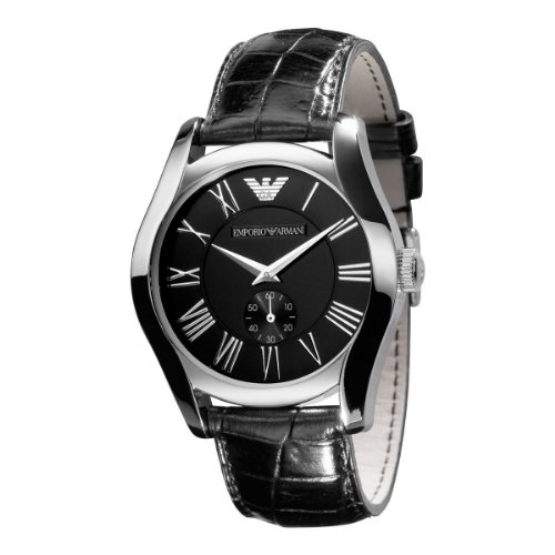 Emporio Armani Men's 'Classic' Quartz Stainless Steel and Leather Dress Watch, Color:Black (Model: AR0643)