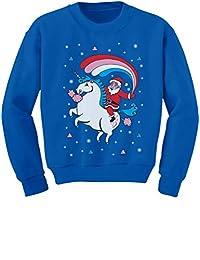 TeeStars - Santa Riding Unicorn Rainbow Ugly Christmas Toddler/Kids Sweatshirt