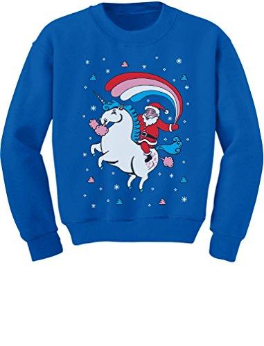 Santa Riding Unicorn Rainbow Ugly Christmas Toddler/Kids Sweatshirt 4T Blue -