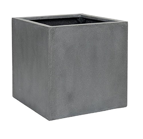"Elegant Gray Square Indoor Outdoor Planter Pot – Elegant Cube Shaped Flower pot - 20""H x 20""W x 20""L - By Pottery (Outdoor Fiberglass)"
