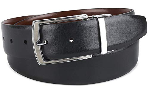 The Savile Row Company Mens Dress Leather Belt 35MM 1.38' wide Black Brown Tan & Reversible