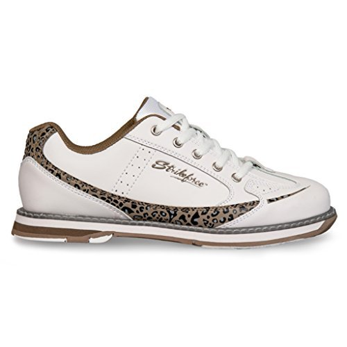 KR Strikeforce L-050-080 Curve Bowling Shoes, White/Leopard, Size 8
