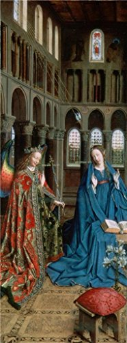 Oil Painting 'The Annunciation By Jan Van Eyck, C.1434' Printing On Polyster Canvas , 20x54 Inch / 51x136 Cm ,the Best Hallway Gallery Art And Home Artwork And Gifts Is -