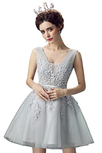 Babyonline Floral Lace Tank Shoulder Short Prom Party Dress For Teens,Gray.4 (Homecoming Teen Dresses)