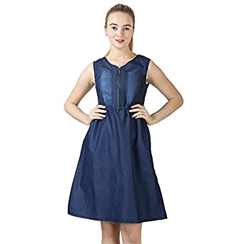 7d763284ce oneOeightdesigns Women's Midi Length Sleeveless V Neck Denim Dark Blue Dress  Medium