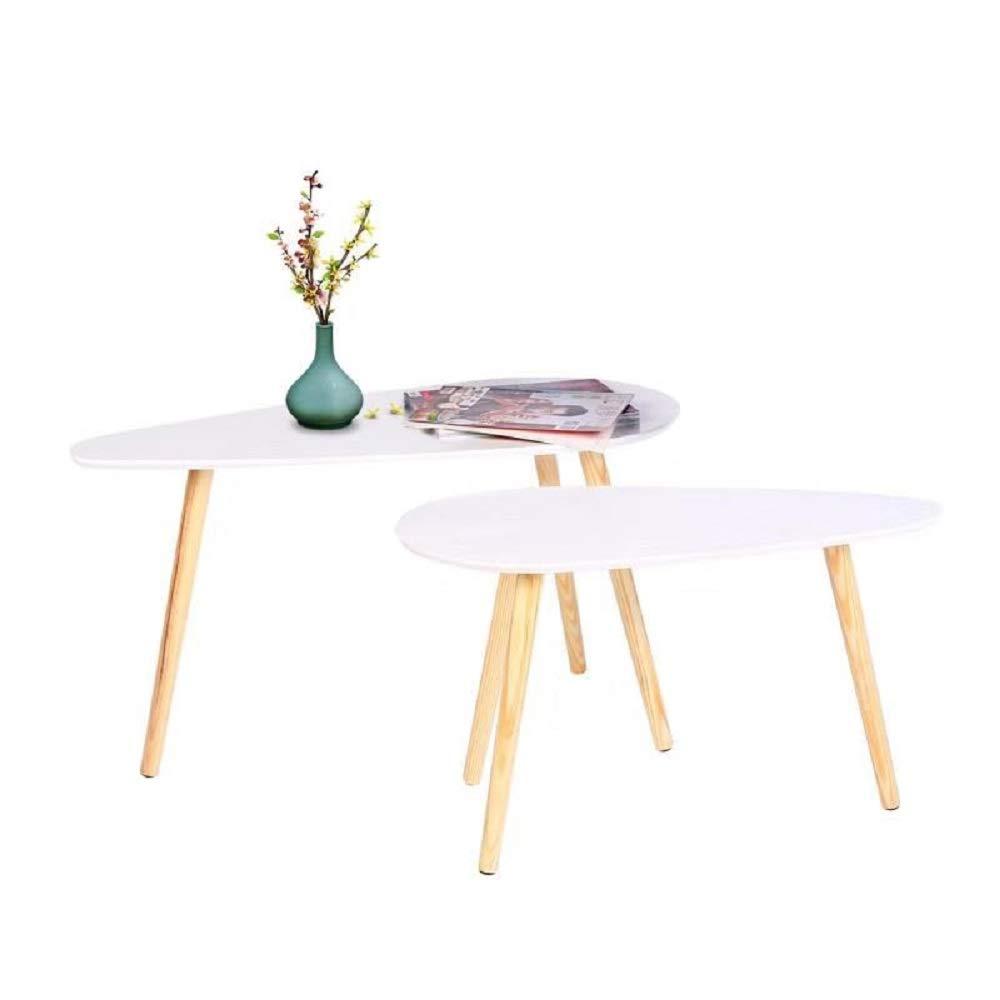 Happy Home Moderner Couchtisch Sef von 2 Nesting End Beistelltisch für Wohnzimmer Zuhause Büro (Großer Tisch-85x50x45cm / Kleiner Tisch-70x35x40cm)