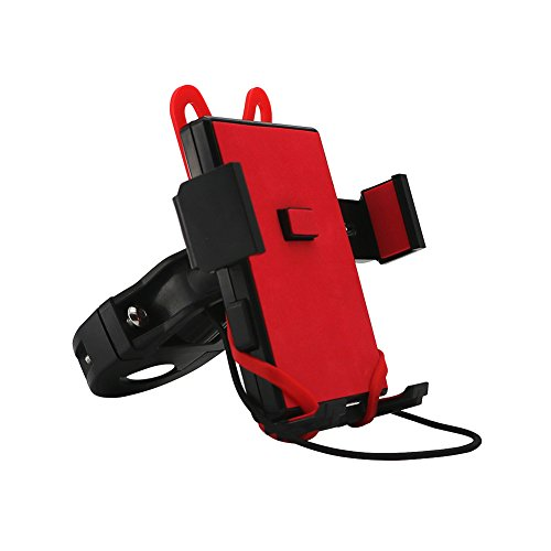 ELShen Bike Phone Mount, Adjustable Bicycle Phone Holder with Triple Protection for 4.5''-5.5'' Phone, iPhone X/8/7/7 Plus, Extremely Tight Hold on Road Mountain Bike and Motorcycle Handlebar (Red) by ELShen