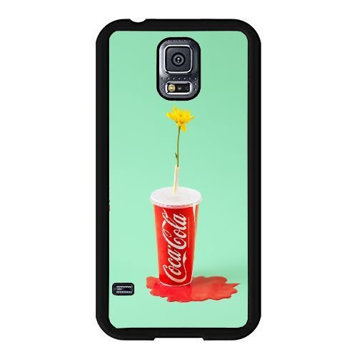 Samsung Galaxy S5 I9600 Case,Creative design Coke Bottle Out of Flowers Pattern Best Durable Hard Plastic Phone Case for Samsung Galaxy S5 I9600 [Candy Color Series]-Black - Season Coke Bottle