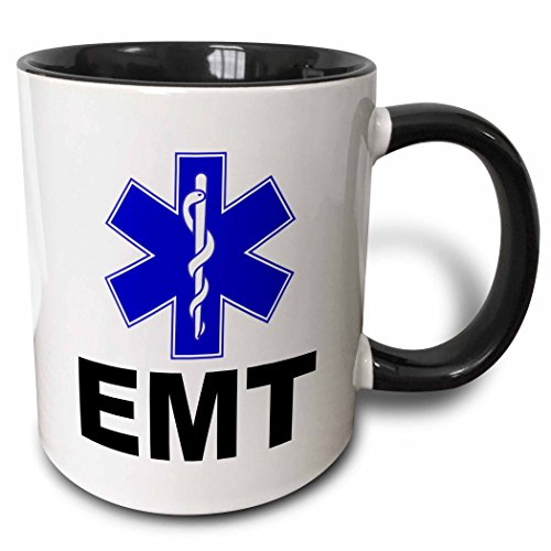 - 3dRose 159582_4 EMT Mug, 11 oz, Black