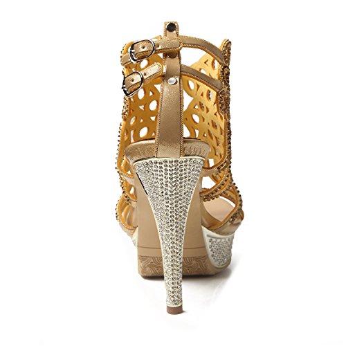Gold Pelle Fibbia in da Toe Moda Strass Catena Crystal Estate Primavera Il Sandali Color per Tacchi da Donna Stivali 41 Open Glitter Vestito Dimensione Partito Scintillante qfZRwgt