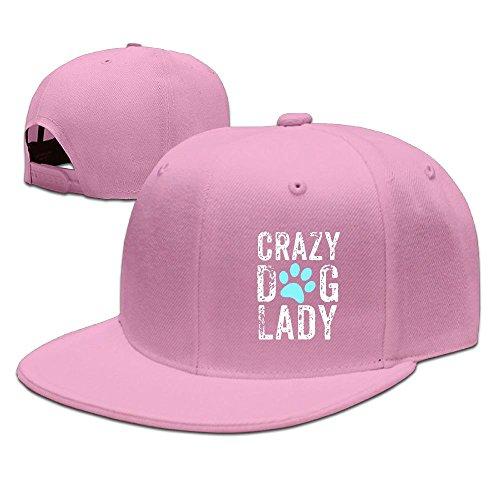 Funny Cap Crazy Dog Lady Paw Unisex Flat Baseball Caps Adjustable Trucker Hats Pink -
